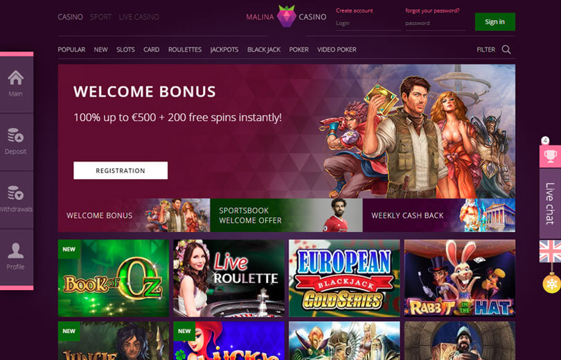 malina casino site review
